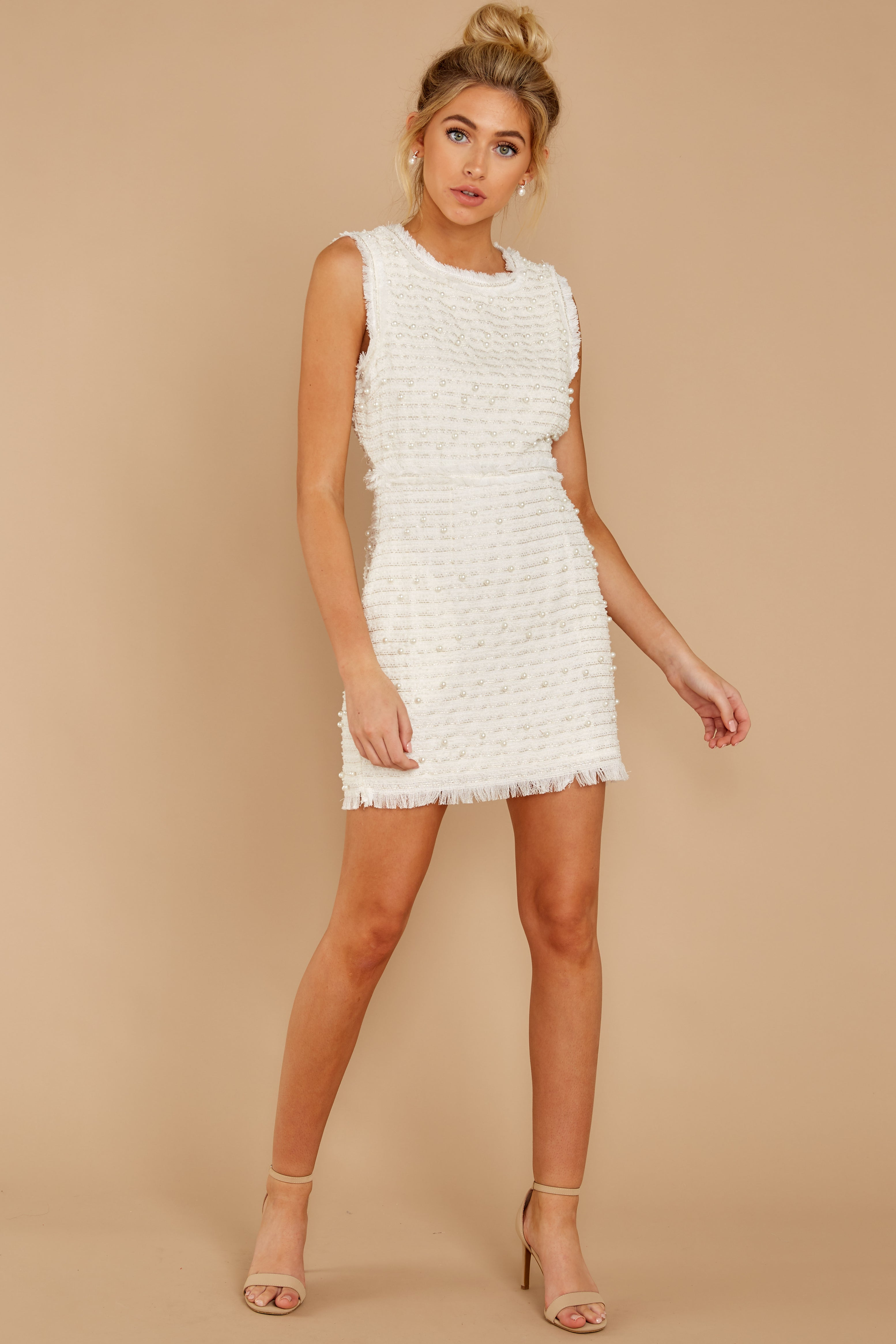 3 Edge Of Perfection White Pearl Dress at reddress.com