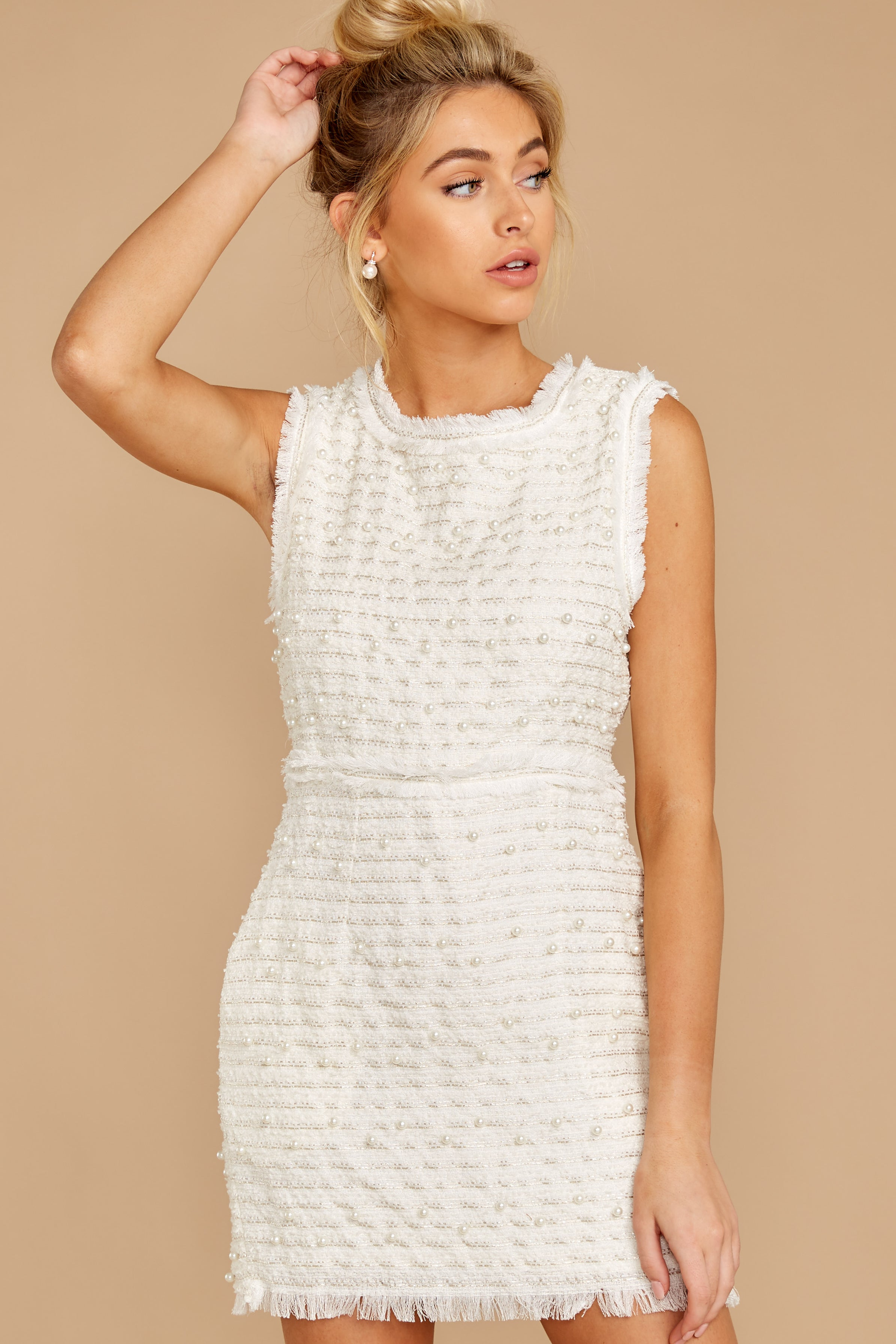 4 Edge Of Perfection White Pearl Dress at reddress.com