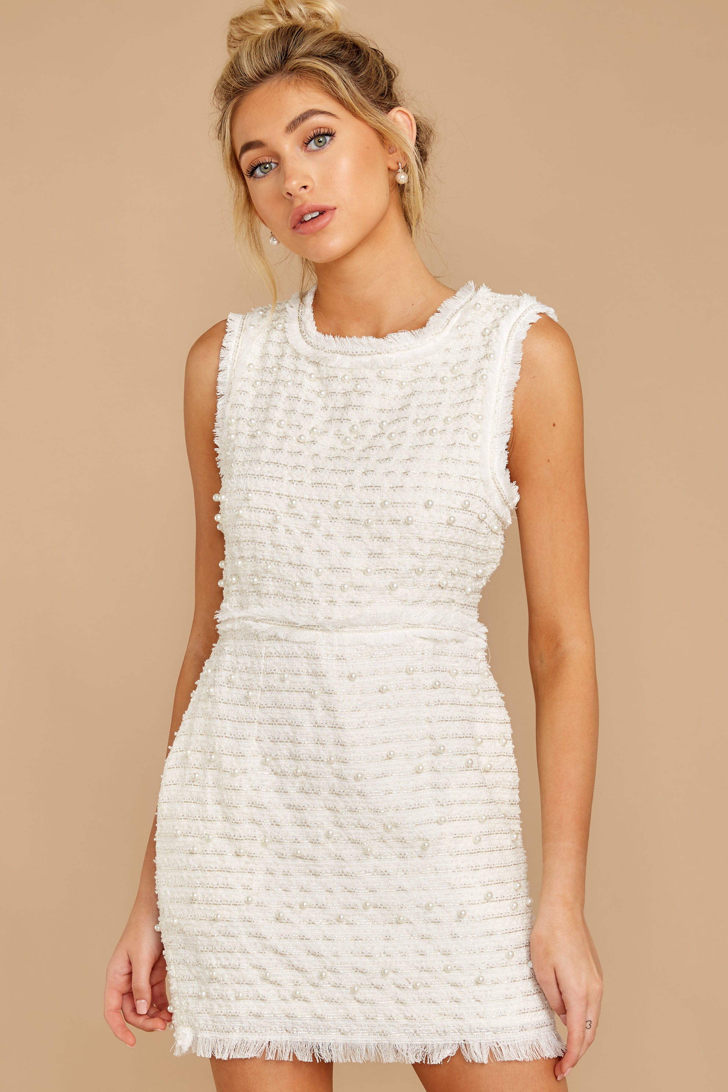 5 Edge Of Perfection White Pearl Dress at reddress.com