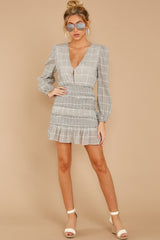 3 Professional Swagger Light Grey Plaid Dress at reddress.com