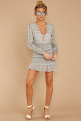 4 Professional Swagger Light Grey Plaid Dress at reddress.com