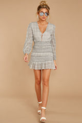 5 Professional Swagger Light Grey Plaid Dress at reddress.com