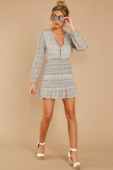 6 Professional Swagger Light Grey Plaid Dress at reddress.com