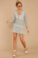 7 Professional Swagger Light Grey Plaid Dress at reddress.com