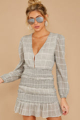 1 Professional Swagger Light Grey Plaid Dress at reddress.com