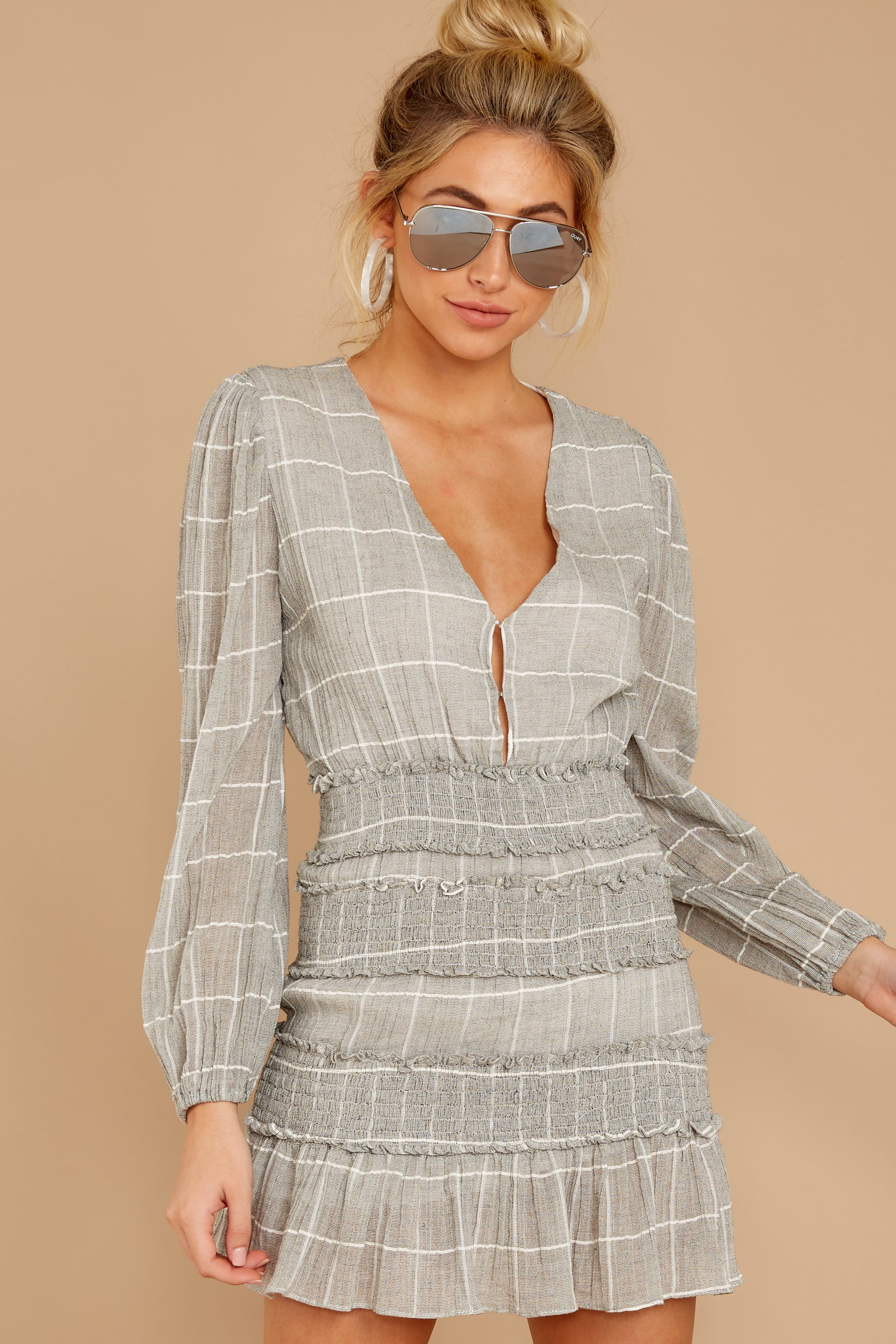 8 Professional Swagger Light Grey Plaid Dress at reddress.com