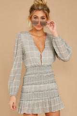 9 Professional Swagger Light Grey Plaid Dress at reddress.com
