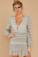 10 Professional Swagger Light Grey Plaid Dress at reddress.com