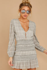 2 Professional Swagger Light Grey Plaid Dress at reddress.com