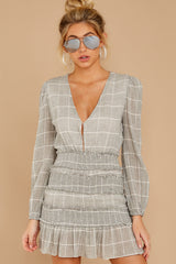 11 Professional Swagger Light Grey Plaid Dress at reddress.com