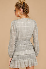 12 Professional Swagger Light Grey Plaid Dress at reddress.com