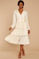 Tall V-neck Tiered Button Front Belted Dots Print Lace Trim Tie Waist Waistline Long Sleeves Midi Dress With a Sash