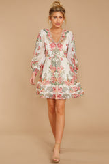 2 Romantic Dalliance Pink Floral Print Dress at reddress.com