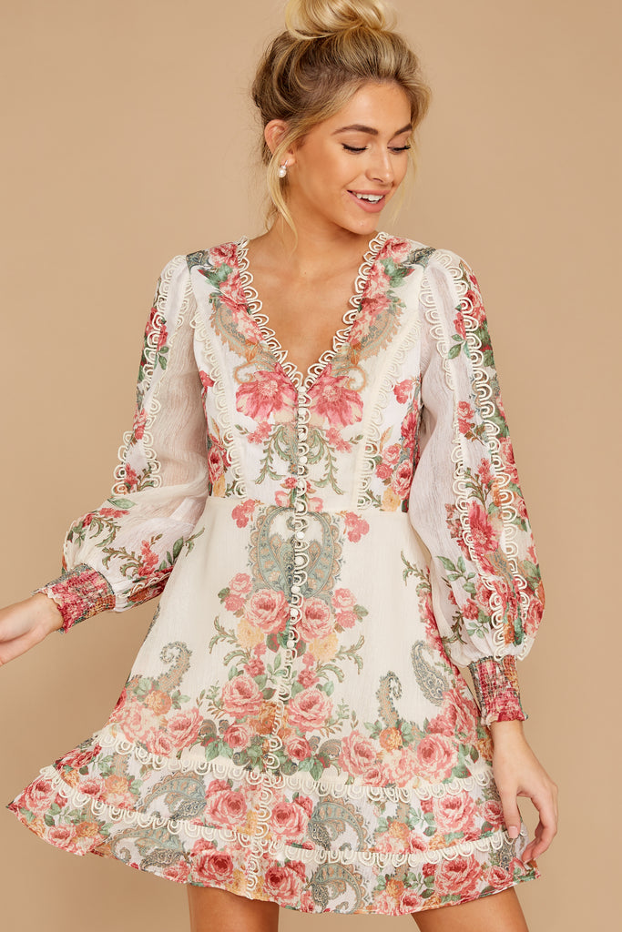 1 Date At The Vineyard Grey And Rust Floral Print Dress at reddressboutique.com