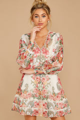 6 Romantic Dalliance Pink Floral Print Dress at reddress.com