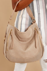 3 Original Purpose Beige Handbag at reddressboutique.com
