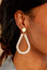 Stop And Drop Ivory Earrings