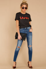 1 Love Dark Grey Graphic Tee at reddressboutique.com
