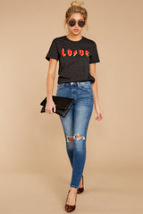2 Love Dark Grey Graphic Tee at reddressboutique.com