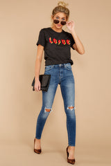 3 Love Dark Grey Graphic Tee at reddressboutique.com