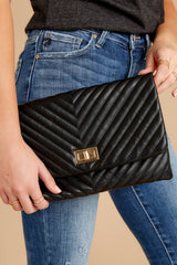 4 In Line With Style Black Clutch at reddressboutique.com