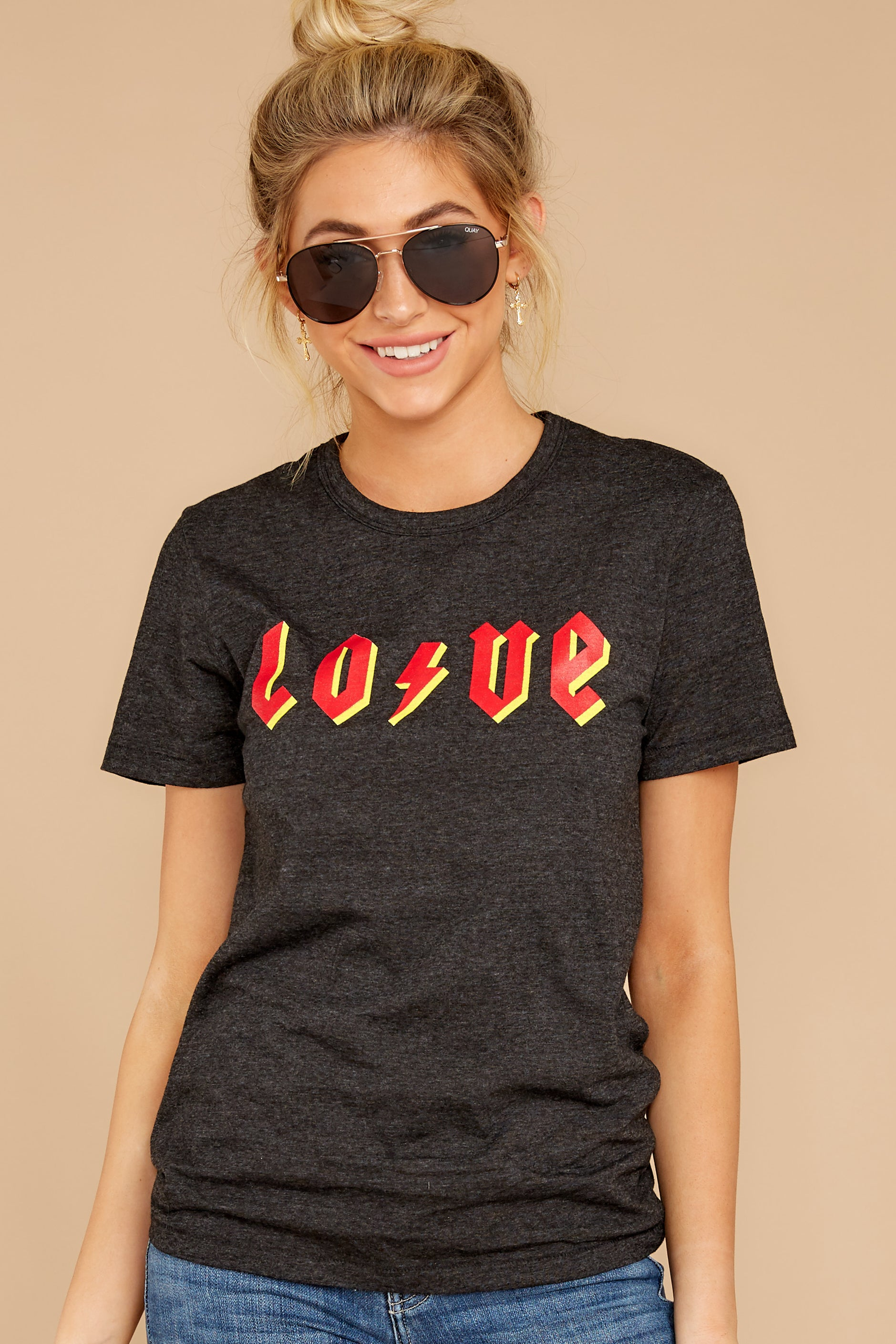 6 Love Dark Grey Graphic Tee at reddressboutique.com