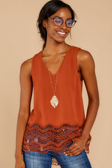 5 Listening To The Muses Rust Orange Top at reddressboutique.com