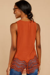 8 Listening To The Muses Rust Orange Top at reddressboutique.com