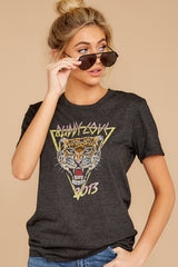 2 Tiger Dark Grey Graphic Tee at reddressboutique.com