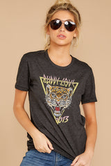 3 Tiger Dark Grey Graphic Tee at reddressboutique.com