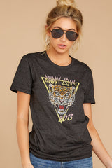 4 Tiger Dark Grey Graphic Tee at reddressboutique.com