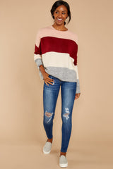 1 Requesting Cappuccinos Burgundy Stripe Sweater at reddressboutique.com