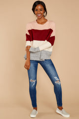 2 Requesting Cappuccinos Burgundy Stripe Sweater at reddressboutique.com