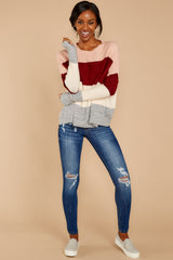3 Requesting Cappuccinos Burgundy Stripe Sweater at reddressboutique.com
