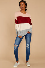 4 Requesting Cappuccinos Burgundy Stripe Sweater at reddressboutique.com