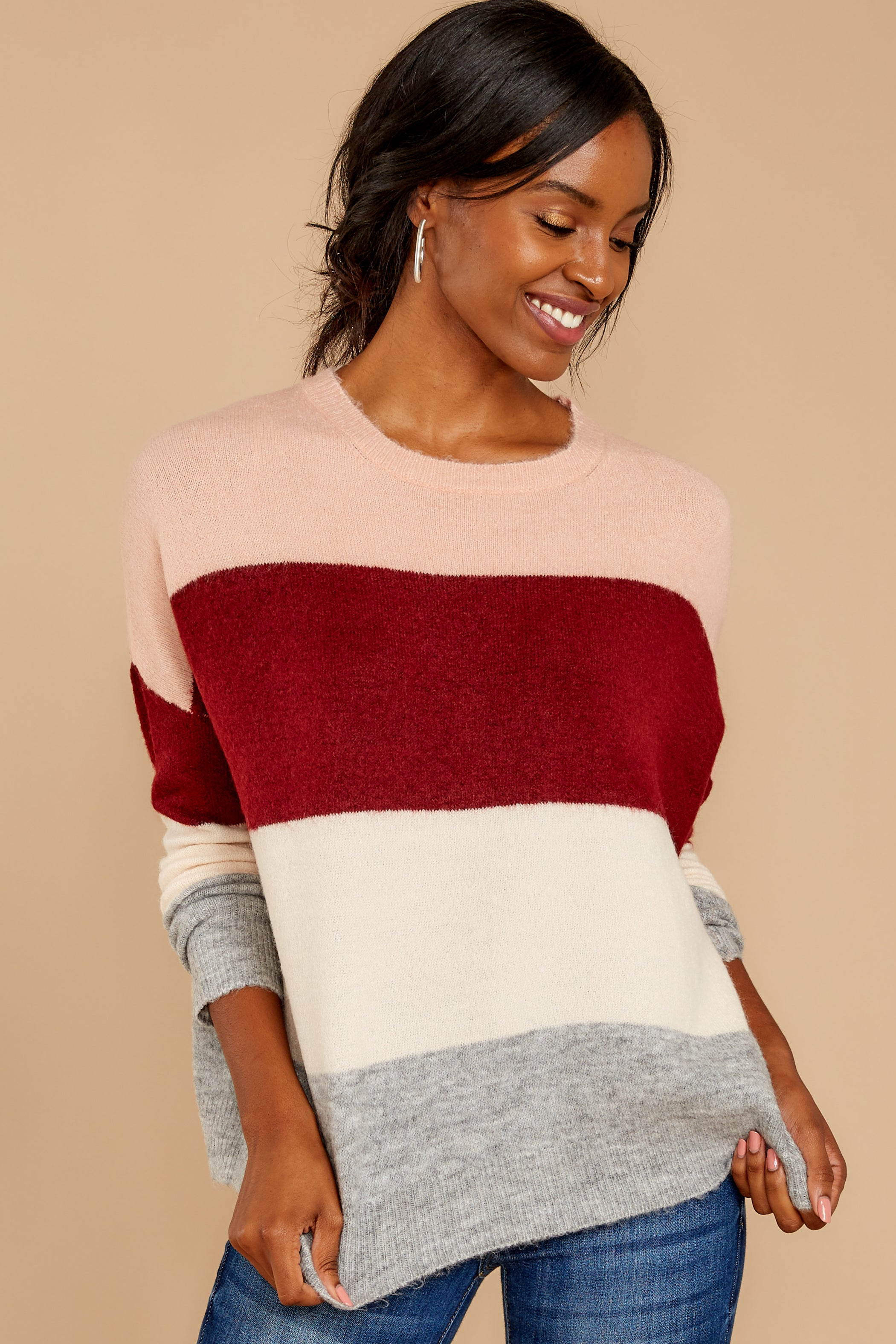5 Requesting Cappuccinos Burgundy Stripe Sweater at reddressboutique.com