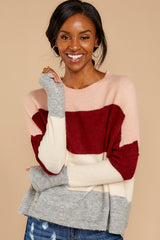 7 Requesting Cappuccinos Burgundy Stripe Sweater at reddressboutique.com