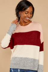 8 Requesting Cappuccinos Burgundy Stripe Sweater at reddressboutique.com