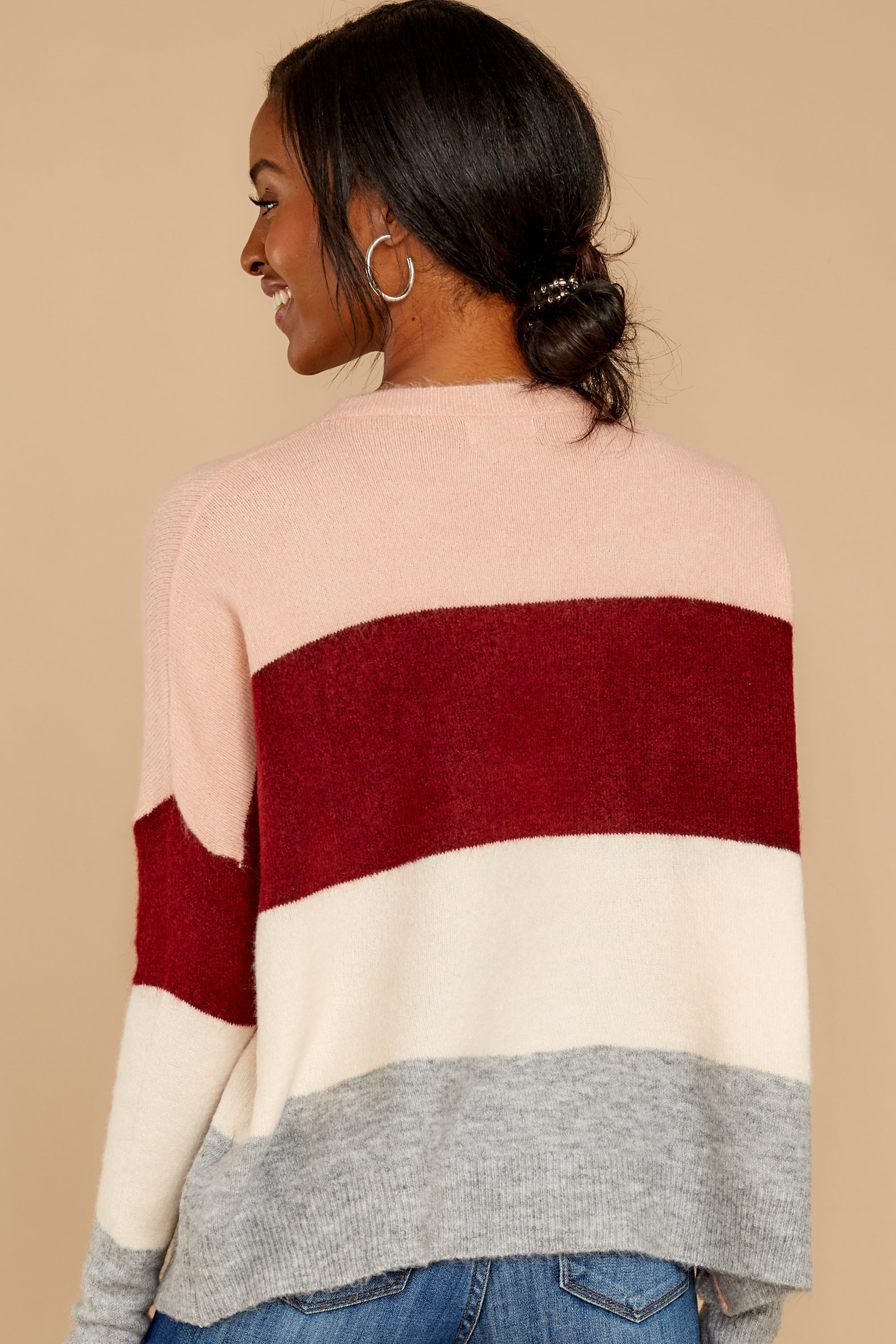 9 Requesting Cappuccinos Burgundy Stripe Sweater at reddressboutique.com