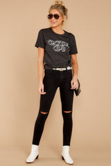 2 Cocktail Club Dark Grey Graphic Tee at reddressboutique.com