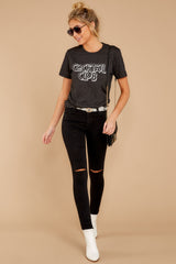 3 Cocktail Club Dark Grey Graphic Tee at reddressboutique.com