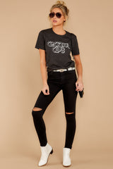 1 Cocktail Club Dark Grey Graphic Tee at reddressboutique.com