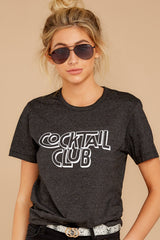 4 Cocktail Club Dark Grey Graphic Tee at reddressboutique.com