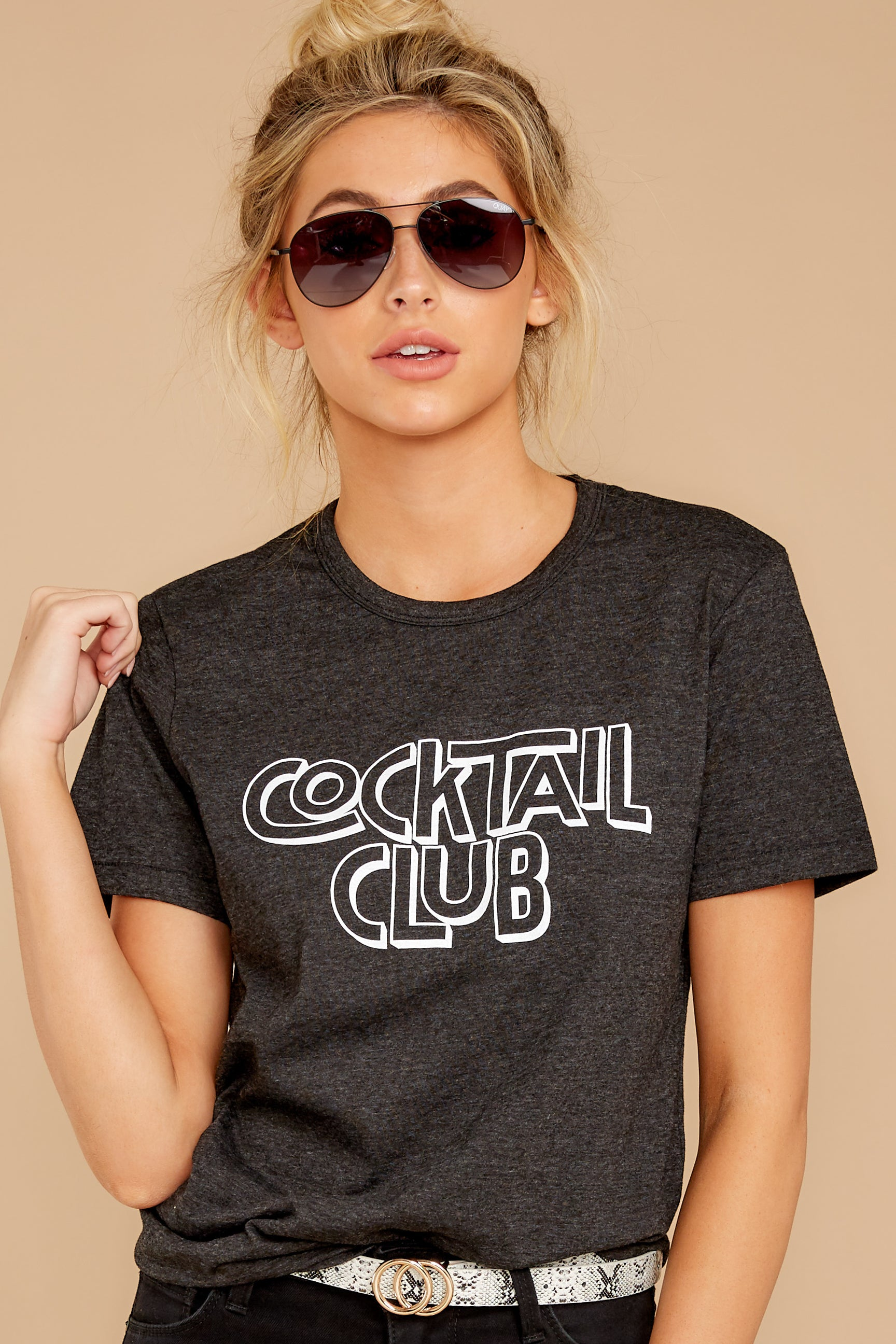 5 Cocktail Club Dark Grey Graphic Tee at reddressboutique.com