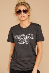 6 Cocktail Club Dark Grey Graphic Tee at reddressboutique.com