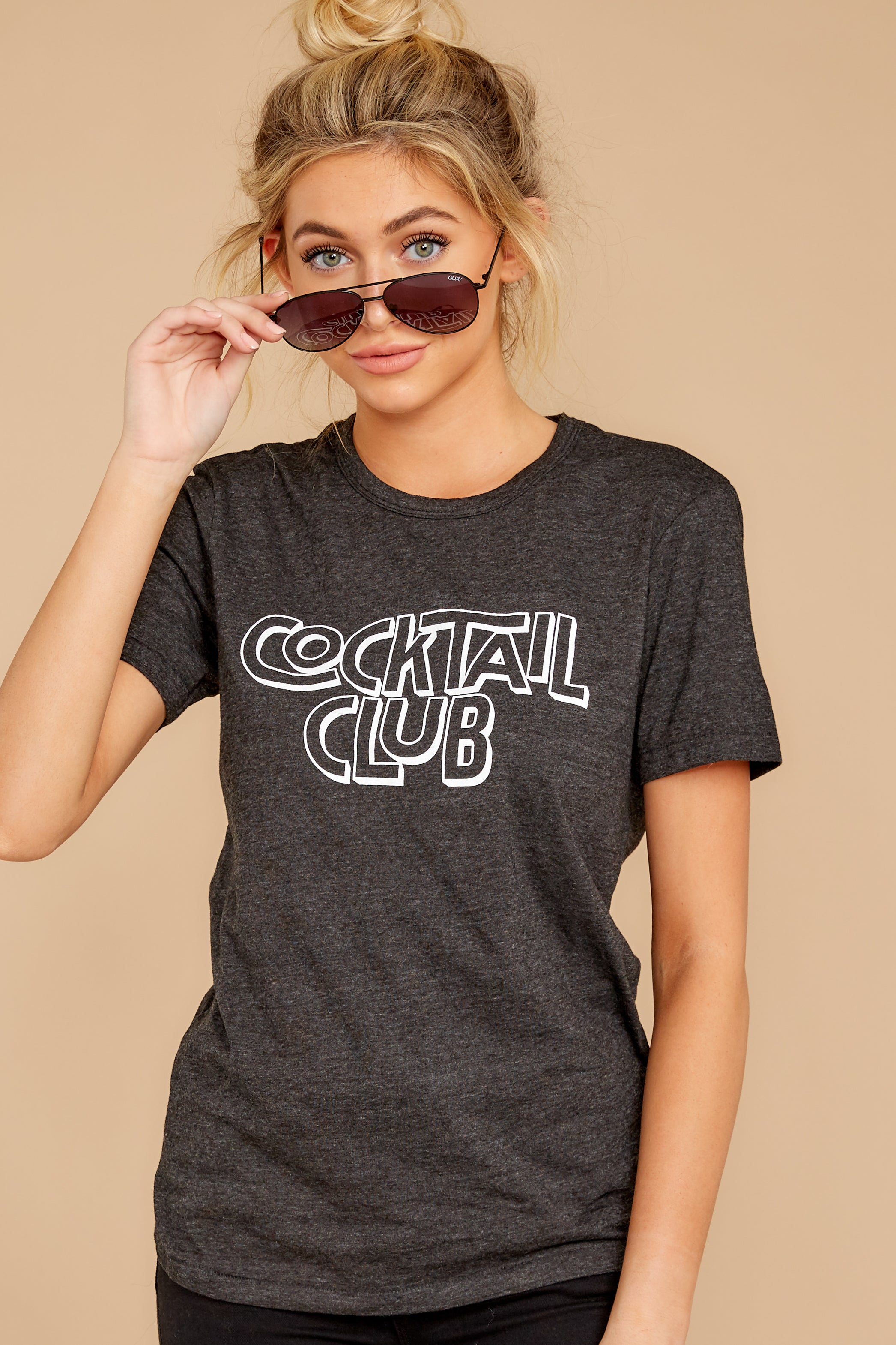 7 Cocktail Club Dark Grey Graphic Tee at reddressboutique.com