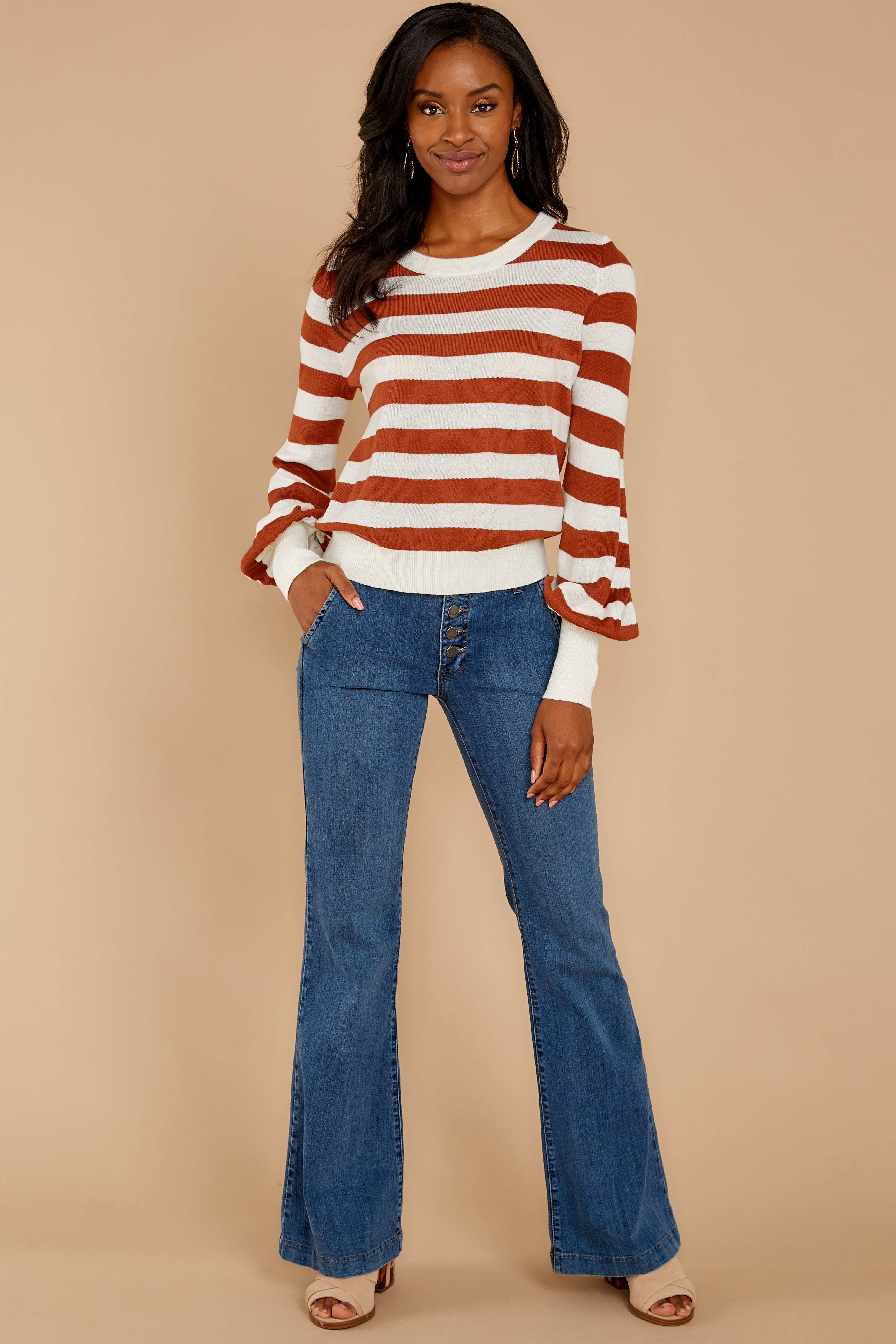 6 Off To Newport Brick Stripe Top at reddressboutique.com