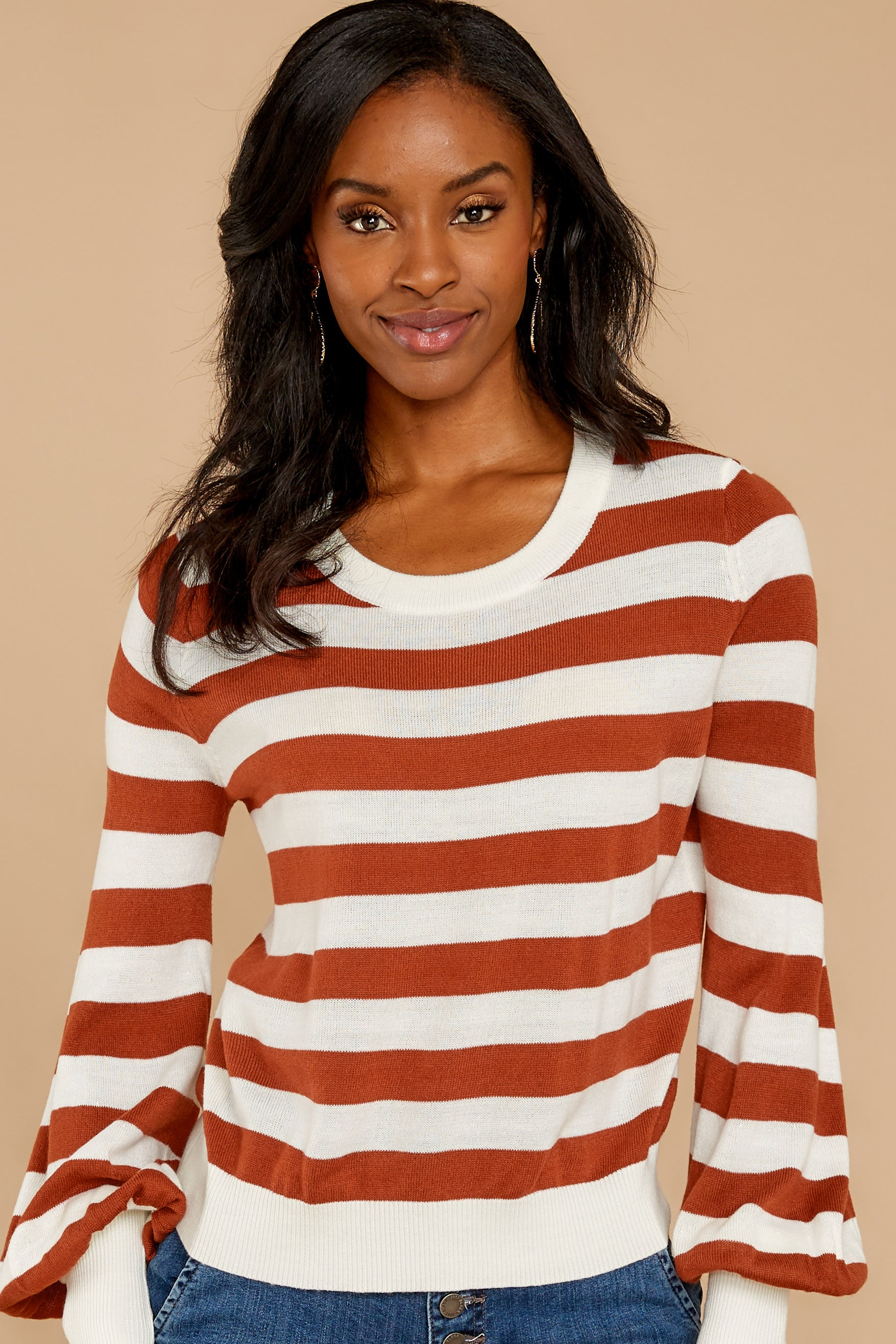 7 Off To Newport Brick Stripe Top at reddressboutique.com