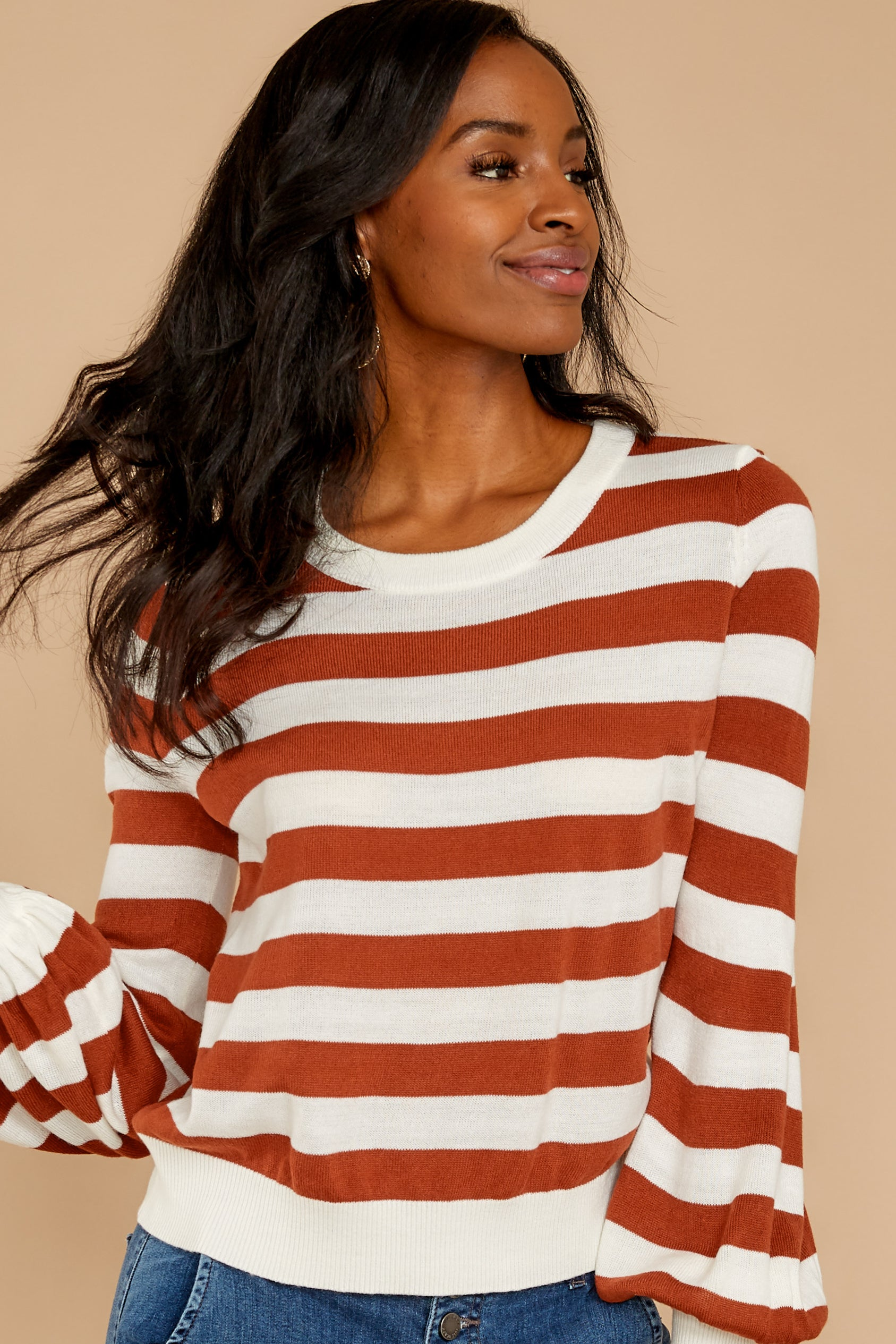 9 Off To Newport Brick Stripe Top at reddressboutique.com