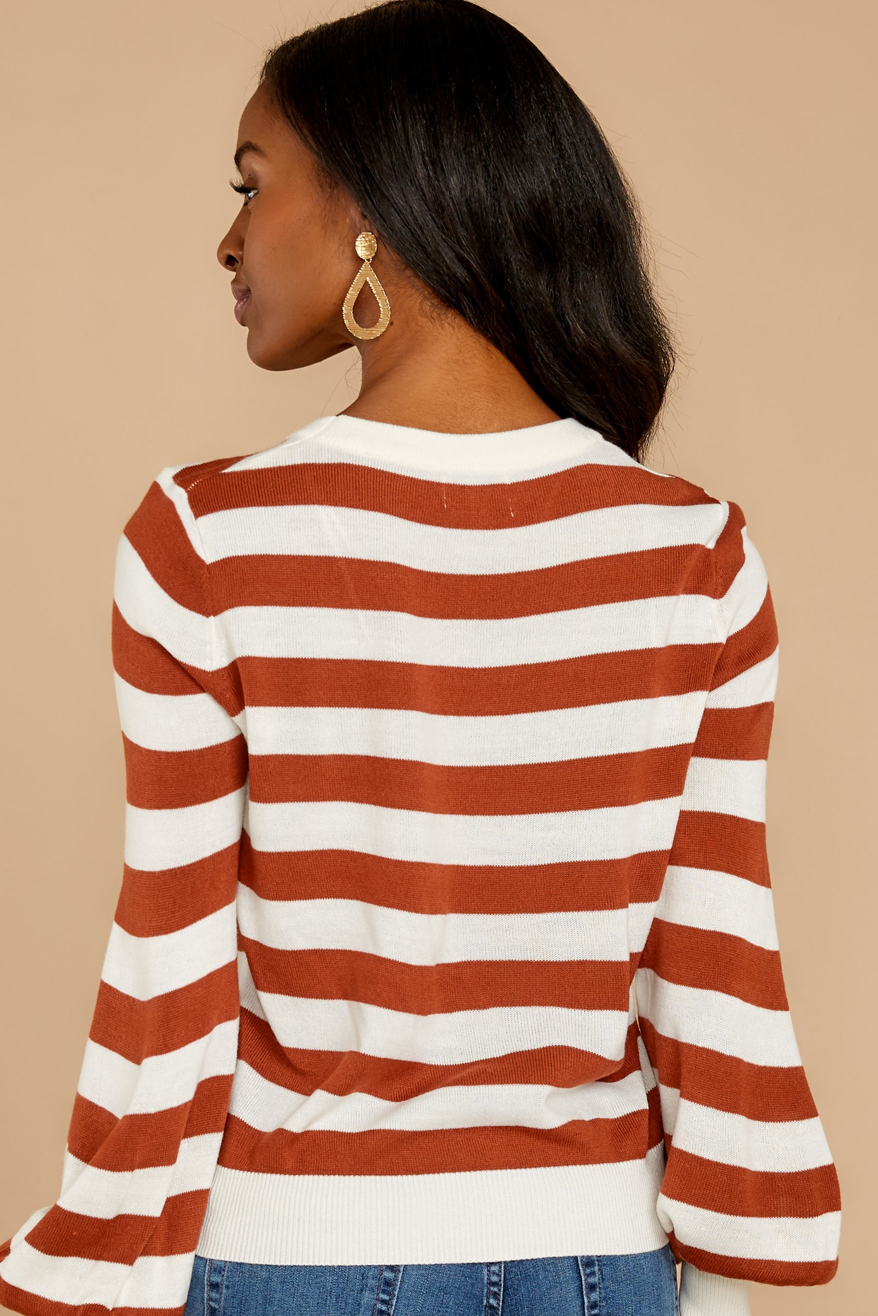 10 Off To Newport Brick Stripe Top at reddressboutique.com